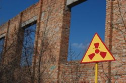 Near Chernobyl Radiation Sign on Building - iStockPhoto