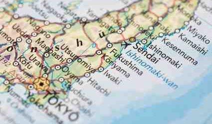 Map showing Fukushima and Sendai - iStockPhoto