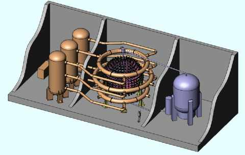 General Fusion Fusion Chamber with Input and Generators Diagram