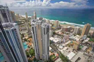 Elevated view of the lovely Gold Coast in Australia