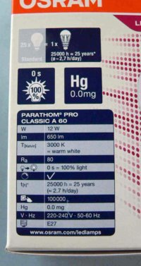 Box description of Osram LED replacment lamp - reverse side