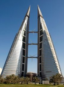 Wind Turbine Array Between Bahrain Towers - iStockPhoto