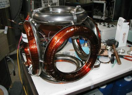The WB6 version of the Polywell Fusion device showing the gaps between the coil edges