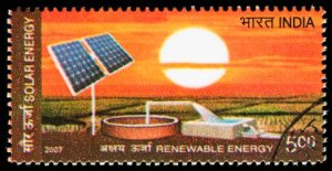 Renewable Energy Even On Postage Stamp From India - iStockPhoto