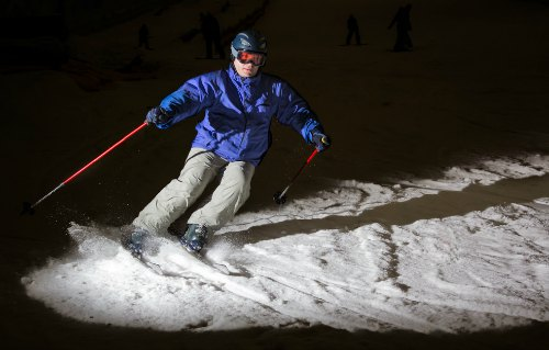 Focused light allows for night skiing