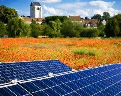 Solar Panels Angled for Maximum Exposure Poppy Field - iStockPhoto