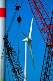 Wind Turbine Construction With Cranes - iStockPhoto