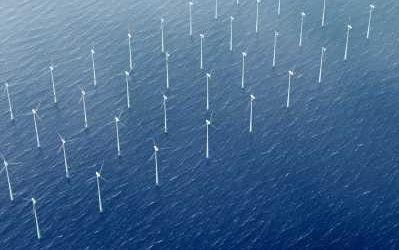 Offshore Wind Farm Array Aerial View - iStockPhoto