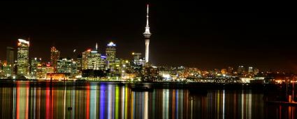 Central Auckland city lights viewed from the North Shore - iStockPhoto
