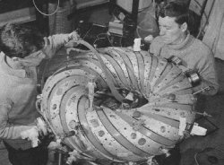 Nuclear fusion research in its early days as portrayed in developing a tokamak like structure