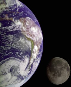 Wondrous colors of Earth contrasted with monochrome of Moon