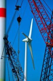 Wind Turbine Construction With Cranes - iStockPhoto