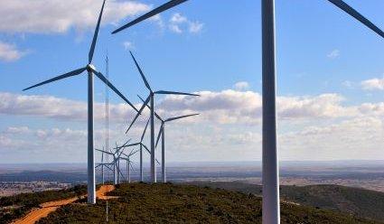 Wind Turbine Array On Ridge - iStockPhoto